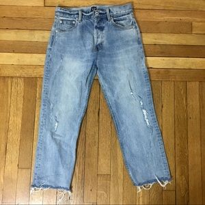 Gap Straight Cropped Distressed Jeans